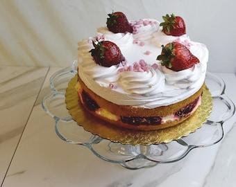 Clear Glass Cake Stand Vintage Dessert Serving
