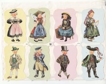 Vintage Children in Costumes Scrap Die-cut Sheet of 4 New, Old Stock Germany EAS 3183 Scrapbooks Ornaments Crafts 1950-1970s