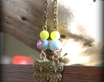 Cute Neon Raver All Night Owl Festival Earrings, decorated with choice of Neon Yellow or pink psychedelic beads. Ready to wear!