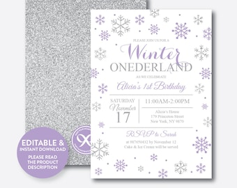 Instant Download, Editable Winter Onederland Birthday Invitation, Winter Wonderland Invitation, First Birthday, Purple and Silver (GKB.08)