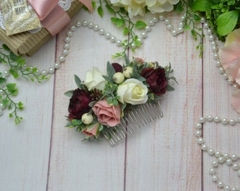 Gift for friend Flower comb Burgundy headpiece Blush flower comb Ivory hair comb, Wedding floral comb, Bridal flower comb, Boho wedding comb