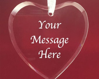 Personalised Engraved Glass Hanging Heart - Any Message or Name Gift