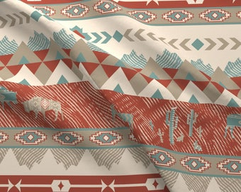 Southwest Geometric Fabric - Southwest Village In Brick And Teal By Gartmanstudio - Tribal Aztec Cotton Fabric By The Yard With Spoonflower