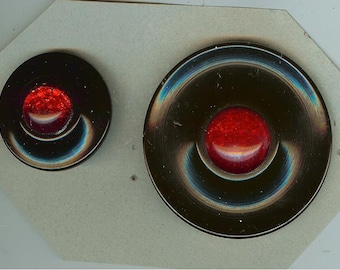 Vintage Set of 2 Black and Red Hard Plastic Buttons