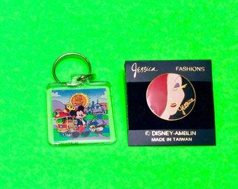 Vintage Disneyland ToonTown Keychain and Jessica Rabbit Pin