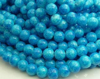 Azure Blue and White Round Glass Beads - 8mm Smooth Mottled Beads, Bohemian Beads - 25pcs - BN22