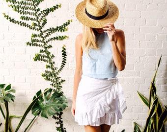 Milly Linen Skirt, Frill Wrap Skirt - White, Natural or Navy Frill Mini Skirt