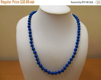 On Sale Vintage Lapis Stone Hand Knotted Beaded Necklace Item K # 1161