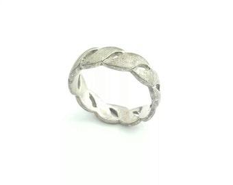 Vintage Sterling Silver Helix Spiral Pattern Band Ring- Size 7.5