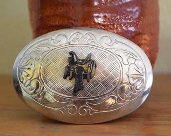 "Vintage 3.25"" Saddle Belt Buckle Cowboy Western Rodeo Made in U.S.A. Silver Metal + Brass"