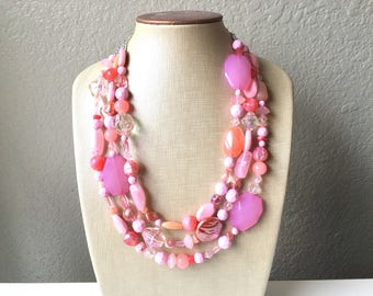 Extra Chunky Blush Statement Necklace, multi strand bright jewelry, chunky statement necklace, coral necklace, blush pink necklace jewelry