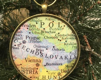 Czechoslovakia Map Christmas Ornament,  Keep a memory Alive / HONEYMOON Gift / Wedding Map Gift / Travel Tree Ornament / Corporate gift