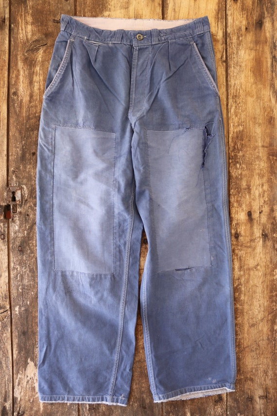 "Vintage french blue bleu de travail cotton twill work chore trousers pants workwear 32"" x 29"" button fly patched repaired le populaire"