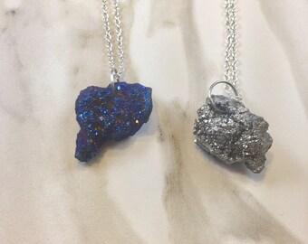 Blue Quartz Necklace - Silver Quartz Pendant - Raw Stone Pendant - Raw Druzy - Blue Druzy -Silver Druzy