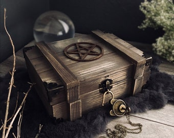 Wiccan Altar Box Starter Kit - Ashwood Ritual Shadow Box Starter Kit - Handmade Shrine Chest with Lock & Key