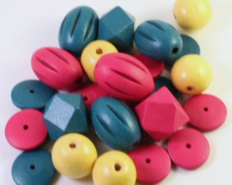 Assorted Colored Wood Bead Mix #2, Dark Teal, Magenta and Yellow, Mixed Shapes, Wholesale Beads