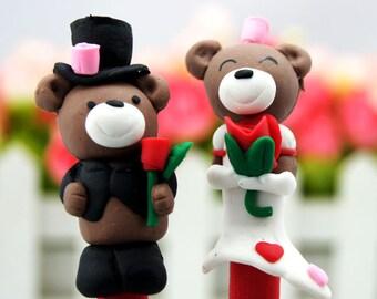 New 2 Cute Polymer Clay Fimo Wedding Bride Groom Teddy Bear Pen