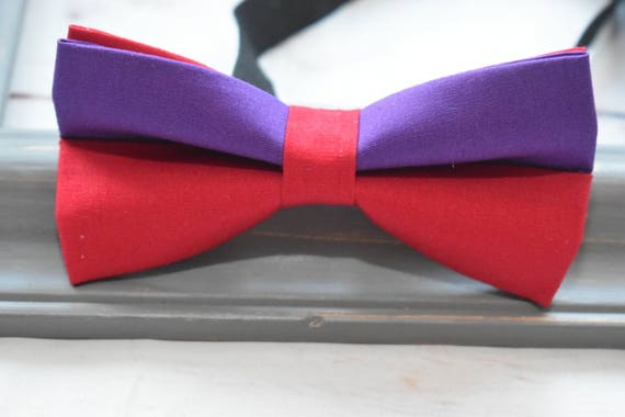 Kids solid red and purple bow tie  for Baby, Toddlers and Boys  (Kids Bow Ties) with Braces / Suspenders