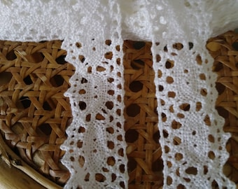 "7yds Vintage White Cotton Cluny Lace Trim 1"" Wide."