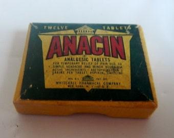 Vintage Anacin Cardboard Box - 12 tablets, Whitehall Pharmacal Co. - 1940s - medical advertising, general store, retro, medicine, analgesic
