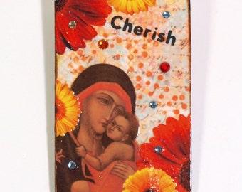 Holy Card Refrigerator Magnet Virgin Mary Fridge Magnet Madonna and Child Religious Catholic Gift