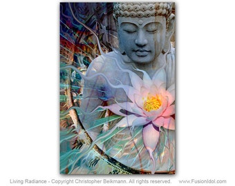 Living Radiance - Buddha Art with Lotus Flower Canvas - Zen Buddha Giclee Print with by Artist Christopher Beikmann