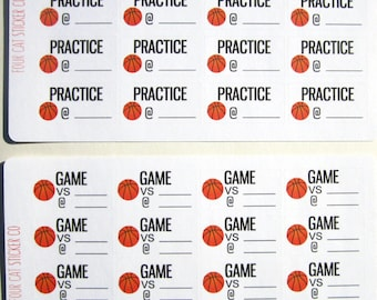 Basketball Practice or Game Planner Stickers, Sports, Matte Removable