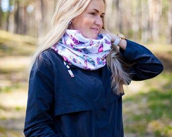 Infinity scarf Woman scarf Feather scarf Feather circle scarf Feather Loop scarf Colourful scarf Neck warmer