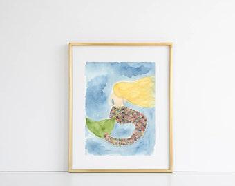 Mermaid Watercolor Print, Mermaid Tail, Mermaid Art