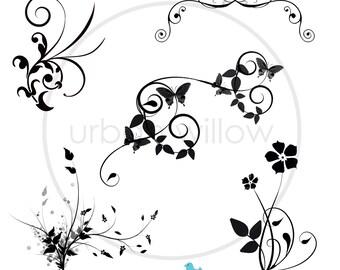 FLOURISHES - 12 x Designer Digital Clip Art Flourishes. Png & Jpeg files.