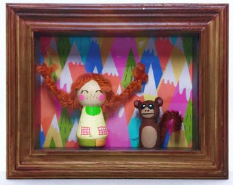 Pippi Langstrumpf Peg Holzpuppe Shadow Box