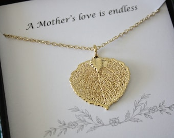 Gold Leaf Necklace Mother Gift, Aspen Leaf Necklace, Real Leaf Necklace, Thank You Card