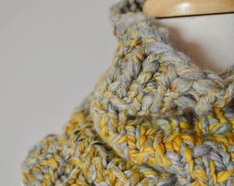 Grey & Yellow Handspun Handknit Cowl in Merino Wool, Bamboo, and Plant Fibers - Hand Knit Textured Fall Fashion Chunky Knit Slip Stitch Cowl