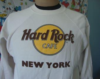 Vintage 80's Hard Rock Cafe New York White Crew Neck Shirt Sweatshirt Fits Sz M