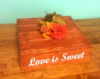 Love is Sweet, Wedding Cake Stand, Reclaimed wood, Customizable/Personalized Rustic Cake Stand, Country Wedding decor