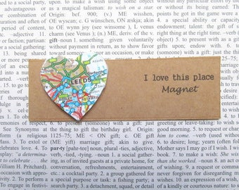 Leeds, UK map magnet: heart shaped magnet made with an original map. Gift idea for best friend, new home,, s gift