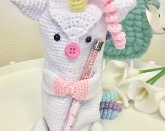Unipig pen holder / pencil case /crocheted