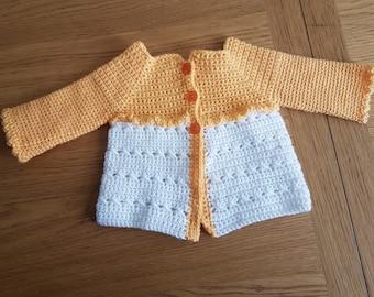 Baby cardigan, matinee coat, matinee jacket, crochet cardigan, lightweight cardigan