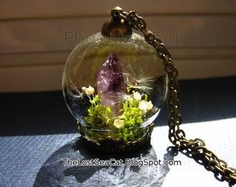 Raw Amethyst pendant Real Dandelion Seed necklace Crystal Terrarium jewelry Real moss Wearable Plant Necklace Gemstone jewelry Price reduced