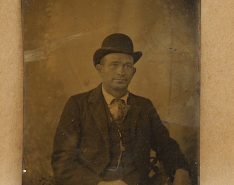 Victorian Studio Tintype Photograph of a Man w/ Hat Antique Vintage