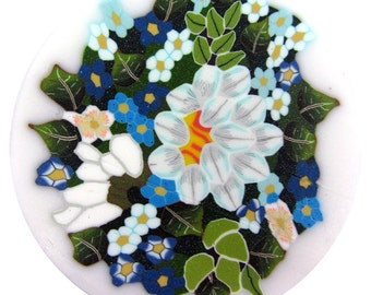 """Polymer clay cane milefiore. 1"""" wide. Detailed bouquet of flowers -  going back"""