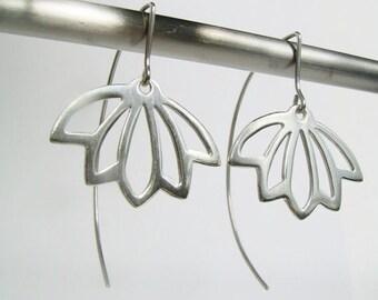 Lotus Silhouette Sterling Silver Earrings. Sterling Silver statement earrings. Silver lotus drop earrings.