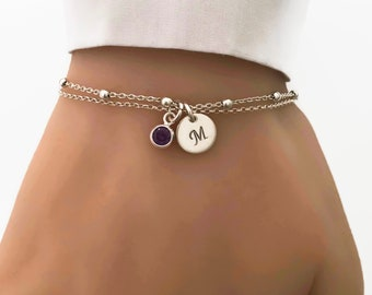 Personalized Sterling Silver Birthstone and Initial Bracelet - Adjustable Bracelet, Personalized jewelry