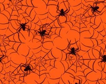 Halloween fabric, spider fabric, spiderweb fabric  Free Domestic Ship over 50