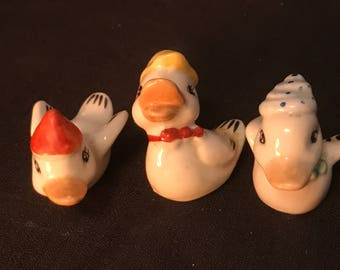 Vintage Duck Figurines Set of Three Ceramic Ducks