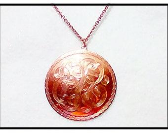 Copper Pendant Necklace On Copper Chain