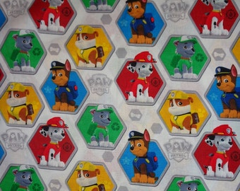 White Paw Patrol Toss Cotton Fabric by the Yard