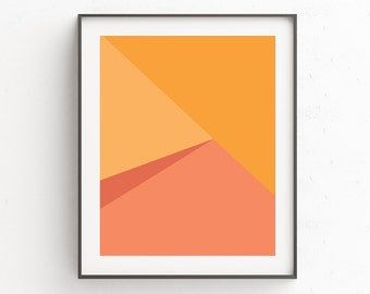 Geometric Print, Instant Download Printable Art, Geometric Wall Art, Scandinavian Print, Orange Print, Geometric Art, Modern Art