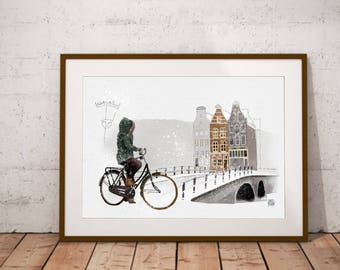 Ilustración bicicleta, impresión Amsterdam, decoración invierno, winter,  ilustración digital, arte de pared, digital art download