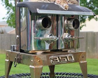 Birdhouse Bird house Art Piece Repurposed Upcycled Deco Duplex Chrome Kitchen Canister Twin Storage Industrial Metal Recycled OOAK